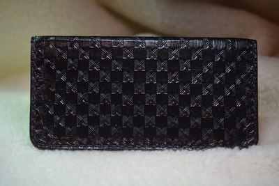 Leather Checkbook Cover Black Basketweave - www.NirvanaCreationsUSA.com
