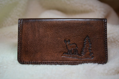 Leather Checkbook Cover Brown Deer - www.NirvanaCreationsUSA.com