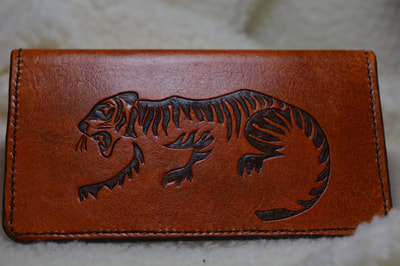 Leather Checkbook Cover Brown Tiger - www.NirvanaCreationsUSA.com