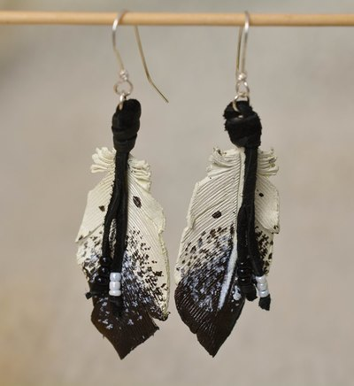Leather Feather Earrings with Sterling Silver Ear Wire - www.NirvanaCreationsUSA.com