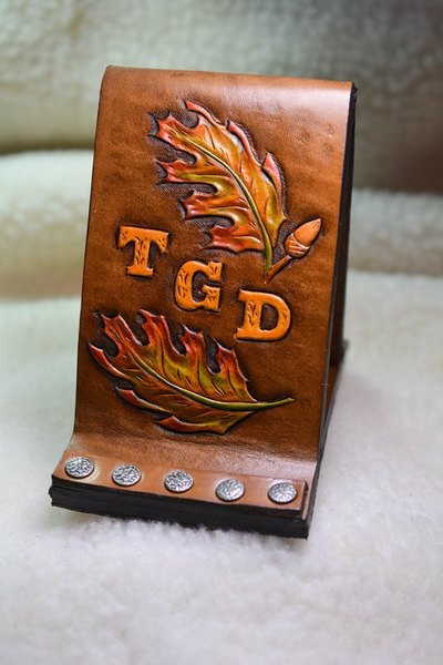 Leather Cell Phone Stand with Photo Frame Autumn Leaves Monogrammed - www.NirvanaCreationsUSA.com