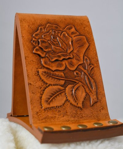 Leather Cell Phone Stand with Photo Frame Carved Rose - www.NirvanaCreationsUSA.com