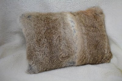 Rabbit Fur Pillow with Suede Leather Backing and Leather Buttons_Front view - www.NirvanaCreationsUSA.com