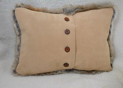 Rabbit Fur Pillow with Suede Leather Backing and Leather Buttons_Back view - www.NirvanaCreationsUSA.com